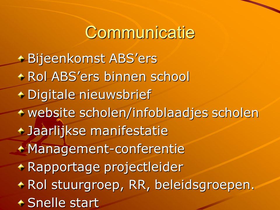 Communicatie Bijeenkomst ABS'ers Rol ABS'ers binnen school