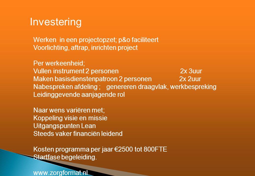 Investering Werken in een projectopzet; p&o faciliteert