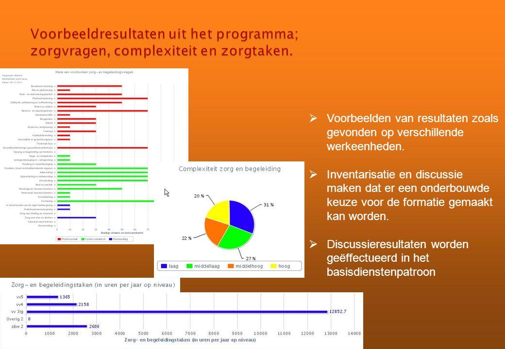 Voorbeeldresultaten uit het programma; zorgvragen, complexiteit en zorgtaken.
