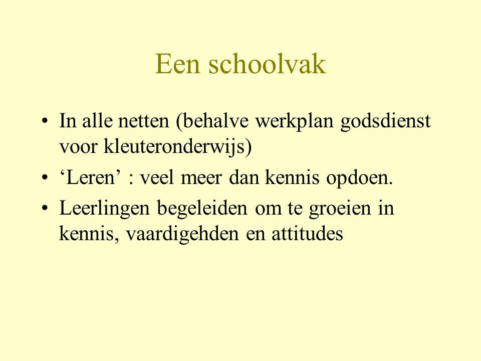 Een schoolvak In alle netten (behalve werkplan godsdienst voor kleuteronderwijs) 'Leren' : veel meer dan kennis opdoen.