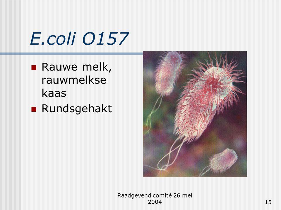E.coli O157 Rauwe melk, rauwmelkse kaas Rundsgehakt