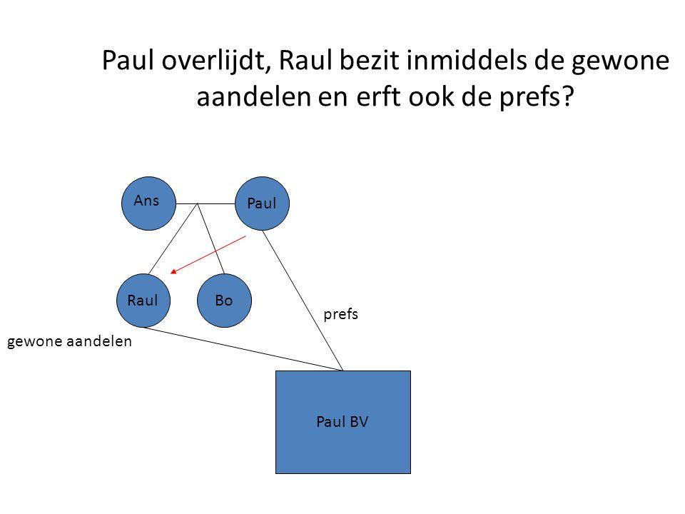 Paul overlijdt, Raul bezit inmiddels de gewone aandelen en erft ook de prefs