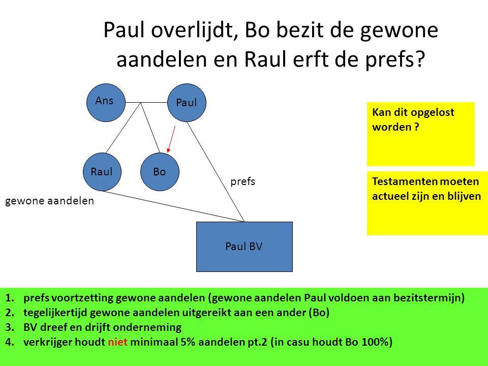 Paul overlijdt, Bo bezit de gewone aandelen en Raul erft de prefs