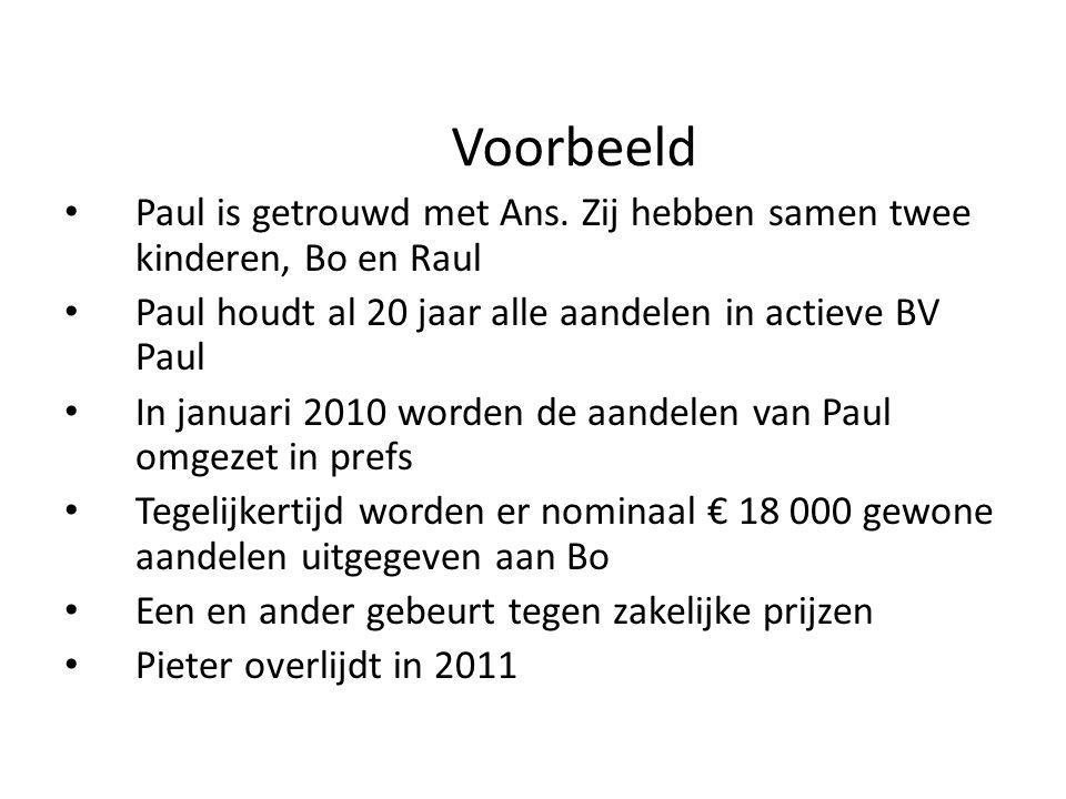 Voorbeeld Paul is getrouwd met Ans. Zij hebben samen twee kinderen, Bo en Raul. Paul houdt al 20 jaar alle aandelen in actieve BV Paul.
