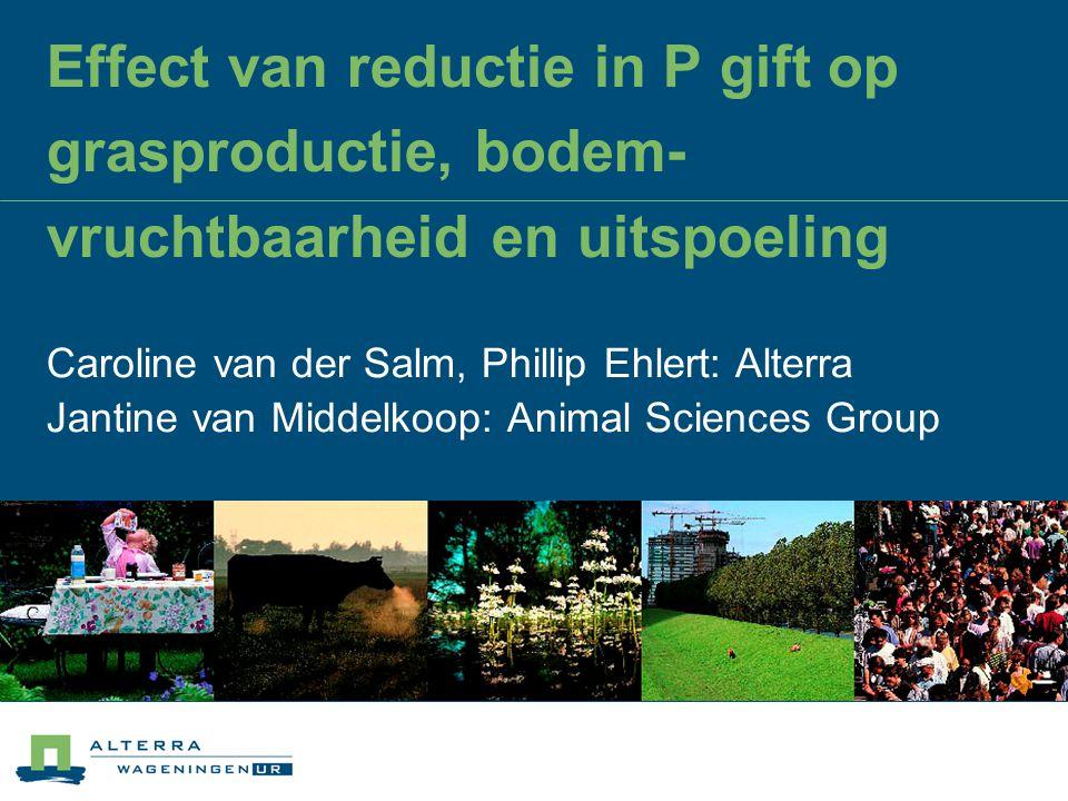 Effect van reductie in P gift op grasproductie, bodem-vruchtbaarheid en uitspoeling