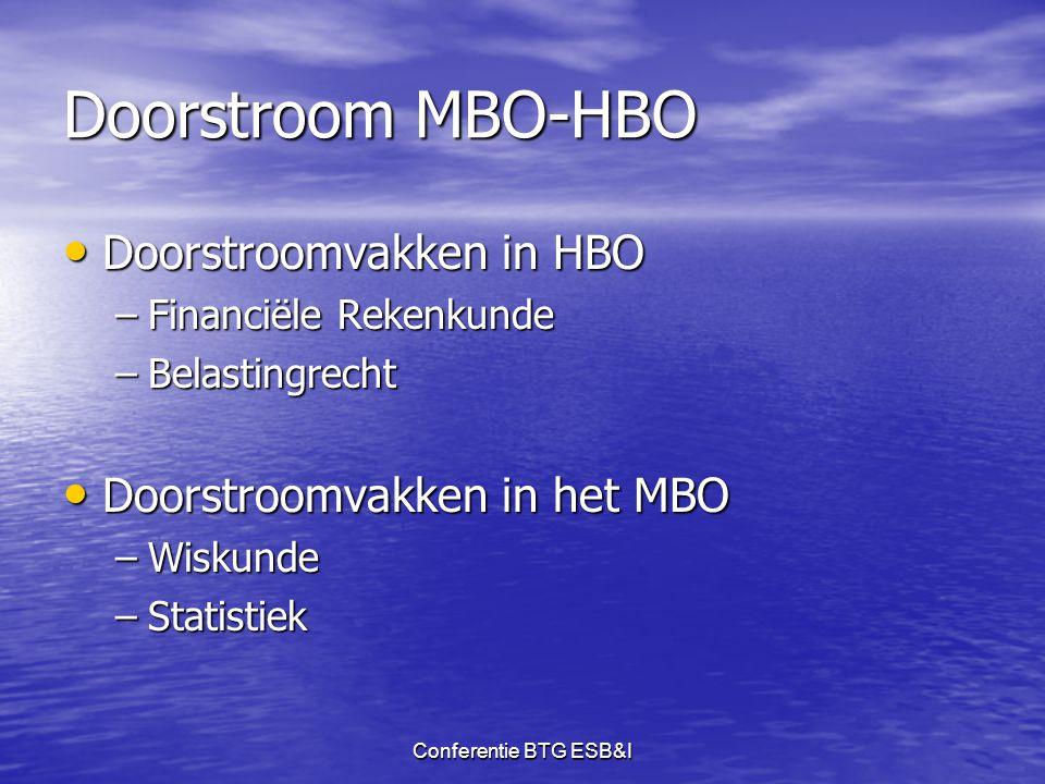 Doorstroom MBO-HBO Doorstroomvakken in HBO Doorstroomvakken in het MBO