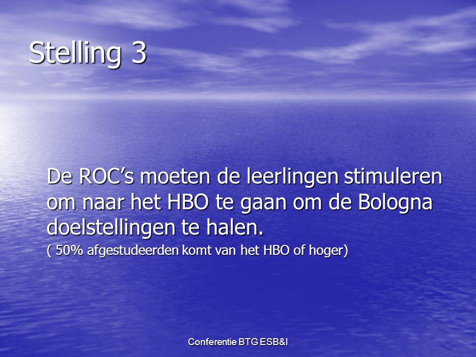 Stelling 3 De ROC's moeten de leerlingen stimuleren om naar het HBO te gaan om de Bologna doelstellingen te halen.