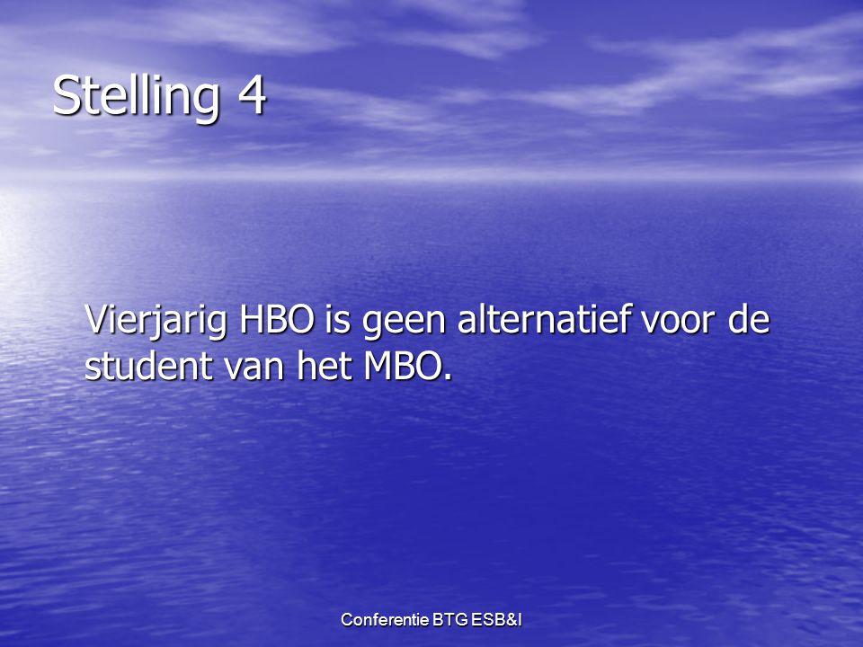 Stelling 4 Vierjarig HBO is geen alternatief voor de student van het MBO. Conferentie BTG ESB&I