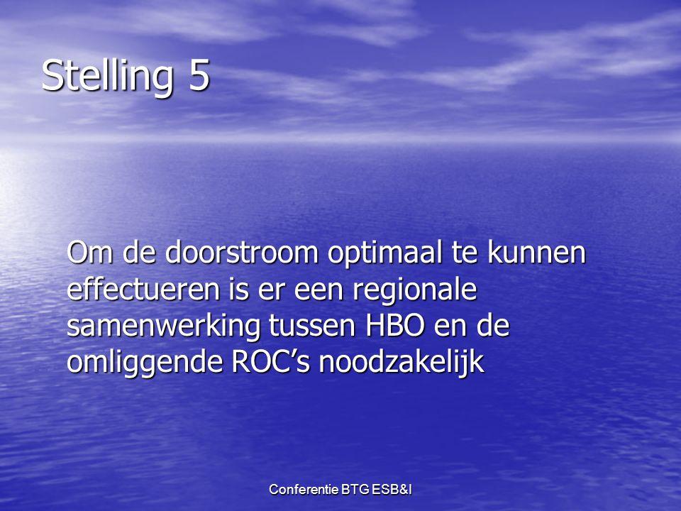 Stelling 5 Om de doorstroom optimaal te kunnen effectueren is er een regionale samenwerking tussen HBO en de omliggende ROC's noodzakelijk.