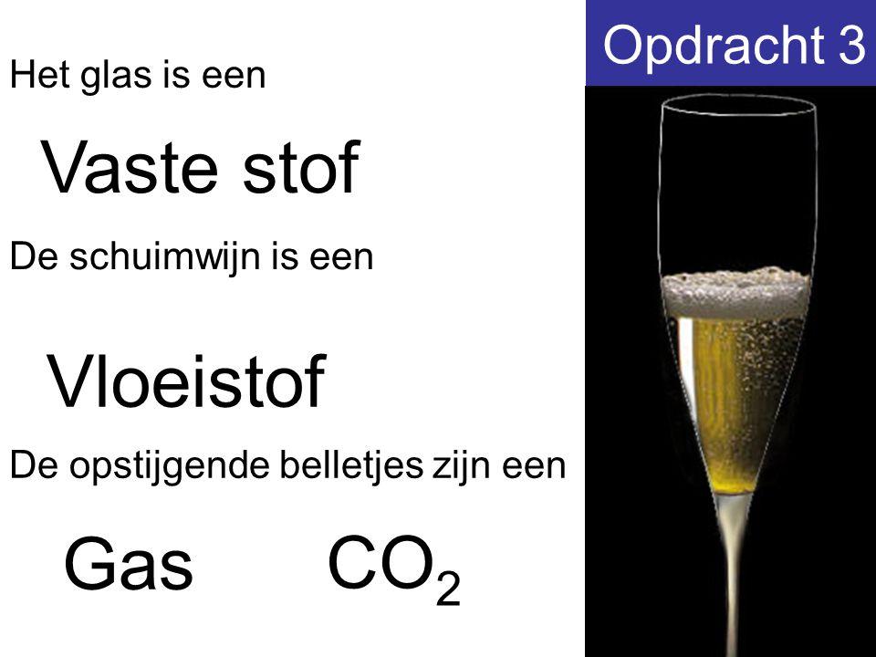 Vaste stof Vloeistof Gas CO2 Opdracht 3 Het glas is een