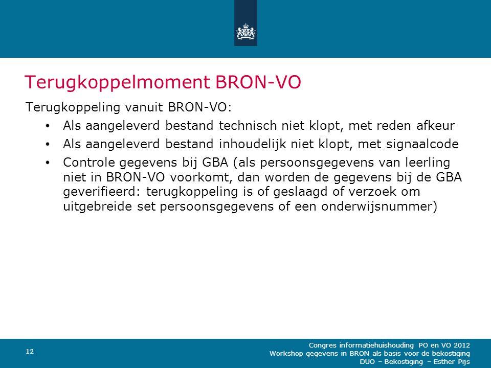 Terugkoppelmoment BRON-VO