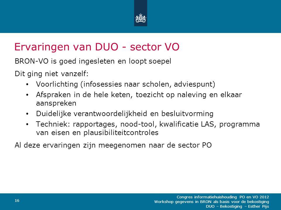 Ervaringen van DUO - sector VO