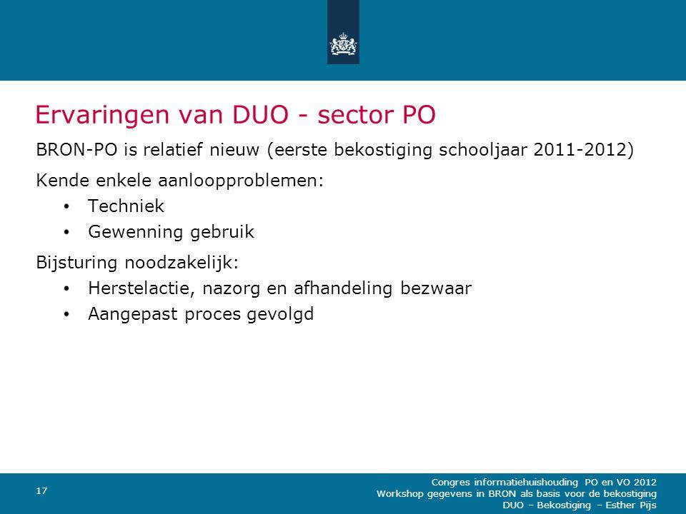 Ervaringen van DUO - sector PO