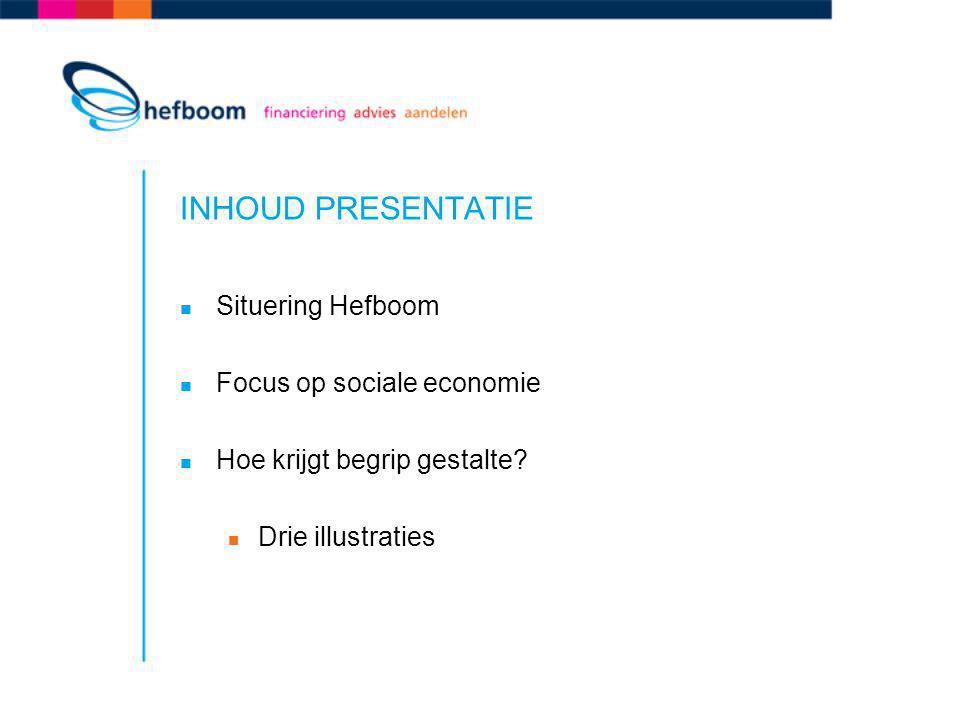 INHOUD PRESENTATIE Situering Hefboom Focus op sociale economie