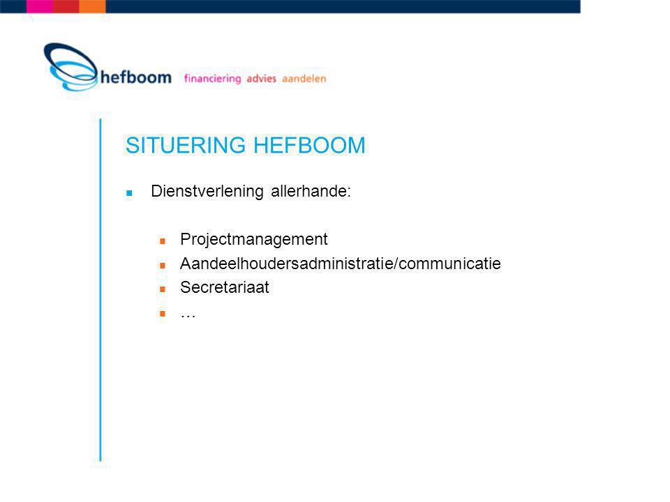 SITUERING HEFBOOM Dienstverlening allerhande: Projectmanagement