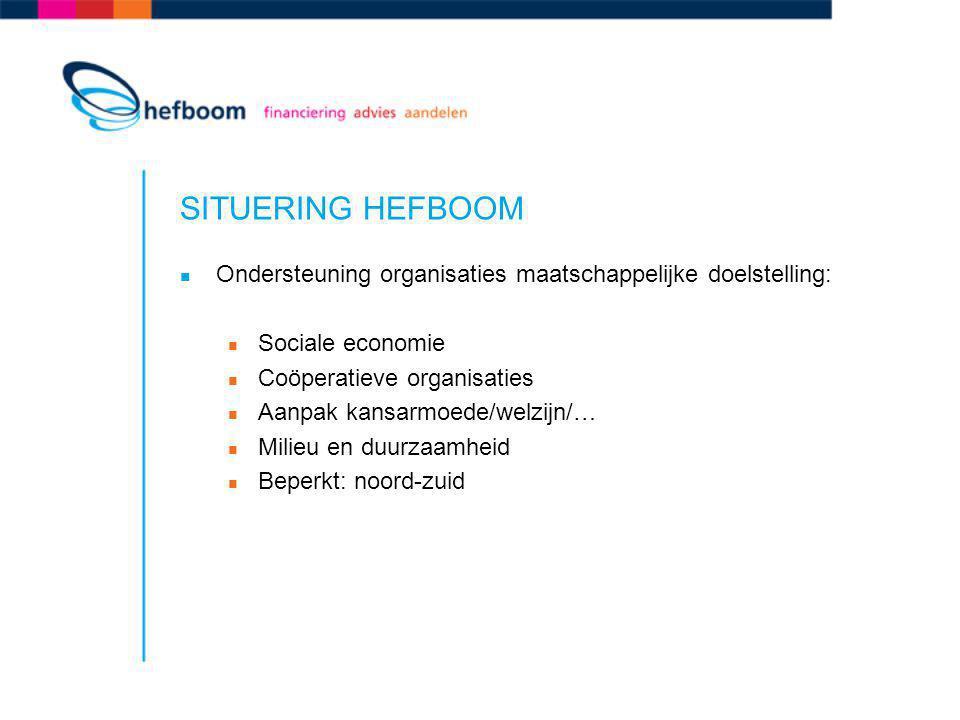 SITUERING HEFBOOM Ondersteuning organisaties maatschappelijke doelstelling: Sociale economie. Coöperatieve organisaties.