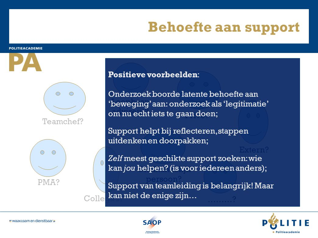 Behoefte aan support Positieve voorbeelden:
