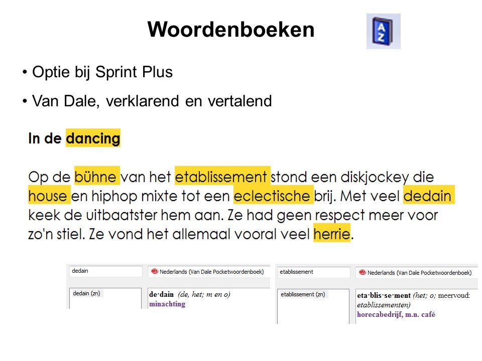 Woordenboeken Optie bij Sprint Plus Van Dale, verklarend en vertalend