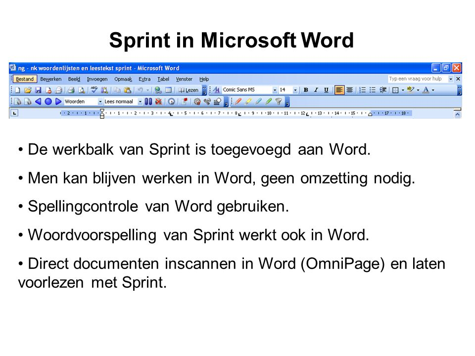 Sprint in Microsoft Word
