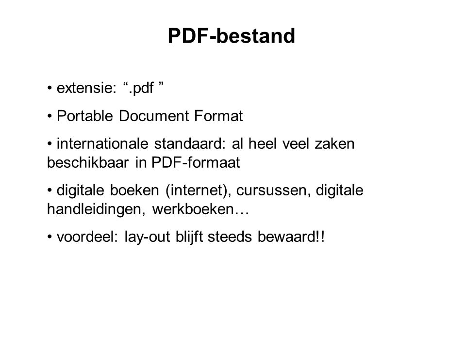 PDF-bestand extensie: .pdf Portable Document Format