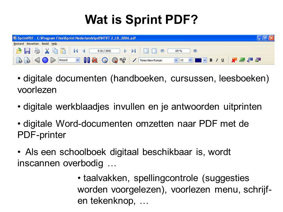 Wat is Sprint PDF digitale documenten (handboeken, cursussen, leesboeken) voorlezen. digitale werkblaadjes invullen en je antwoorden uitprinten.