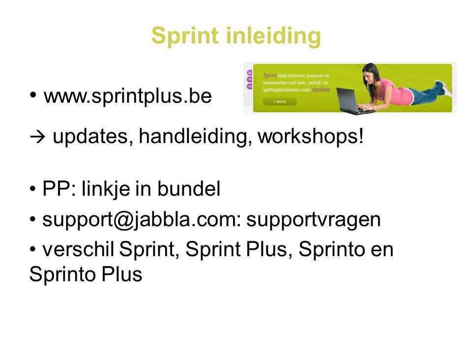 Sprint inleiding www.sprintplus.be PP: linkje in bundel