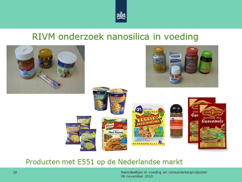 Producten met E551 op de Nederlandse markt