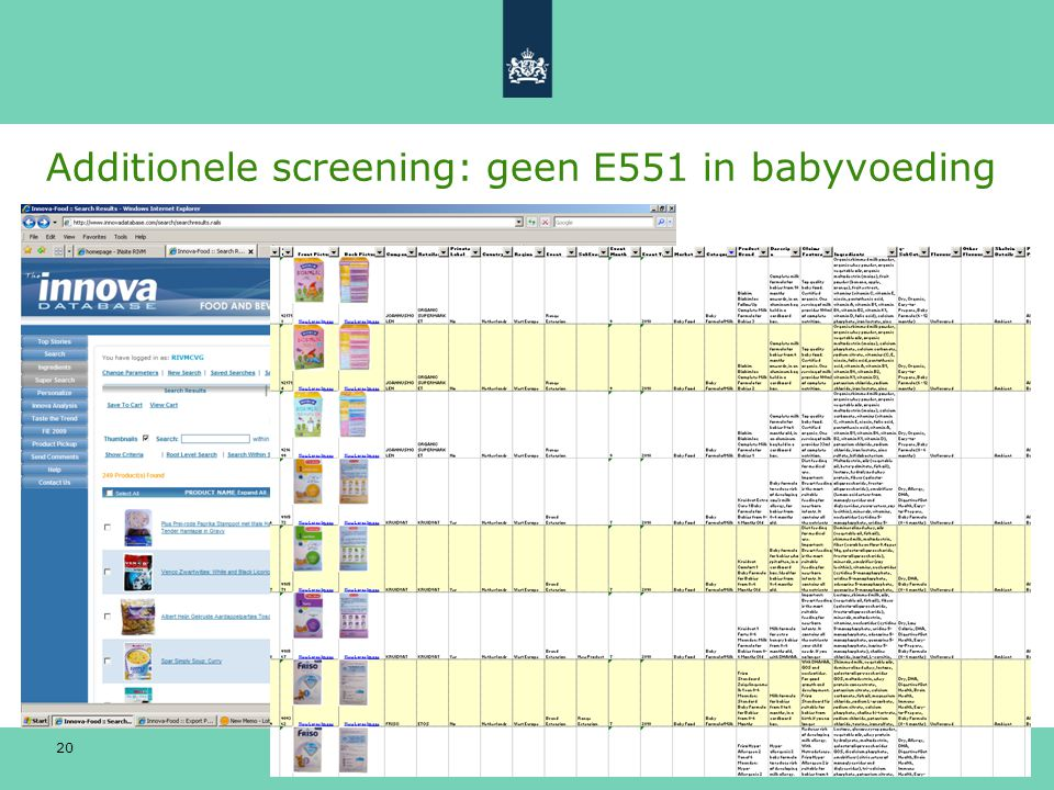 Additionele screening: geen E551 in babyvoeding