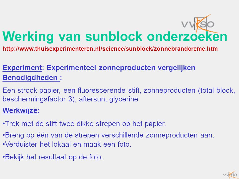 Werking van sunblock onderzoeken