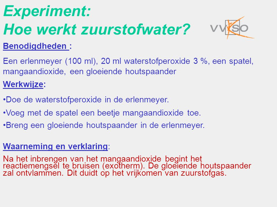 Experiment: Hoe werkt zuurstofwater