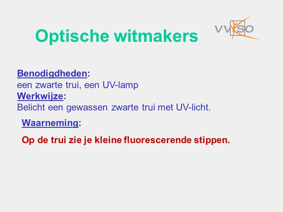 Optische witmakers Benodigdheden: een zwarte trui, een UV-lamp