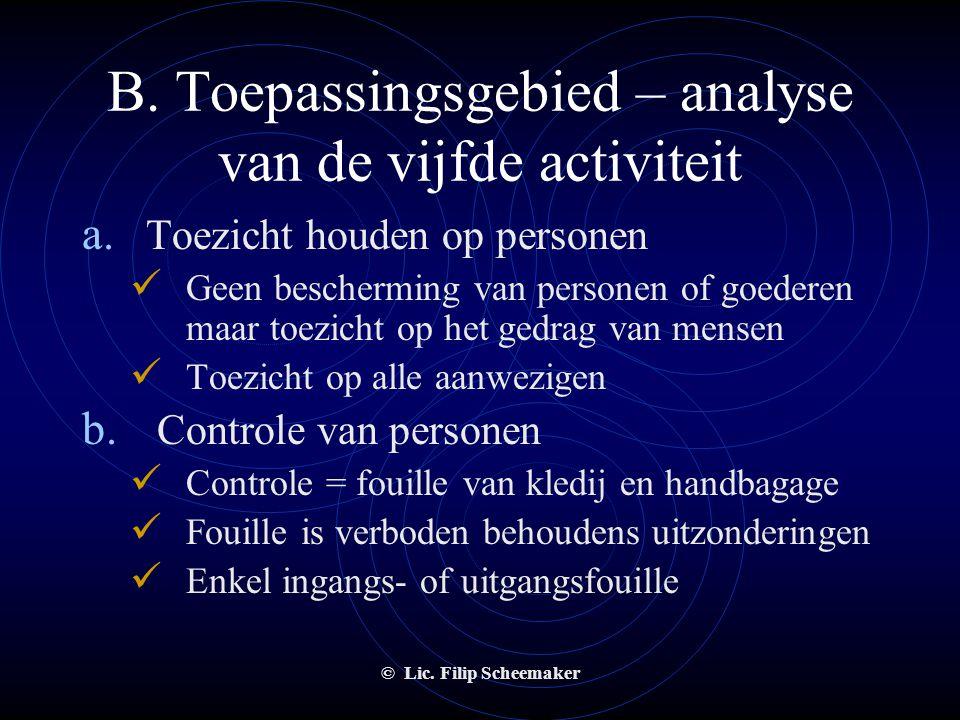 B. Toepassingsgebied – analyse van de vijfde activiteit