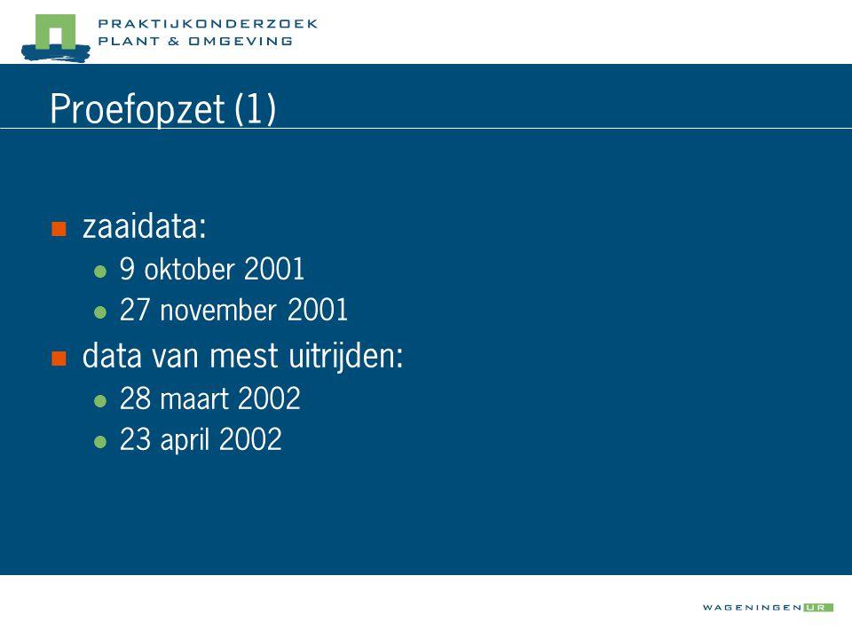 Proefopzet (1) zaaidata: data van mest uitrijden: 9 oktober 2001