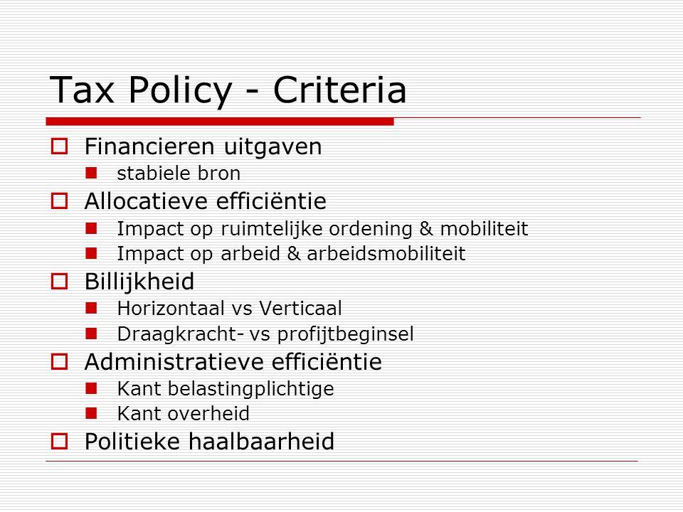 Tax Policy - Criteria Financieren uitgaven Allocatieve efficiëntie