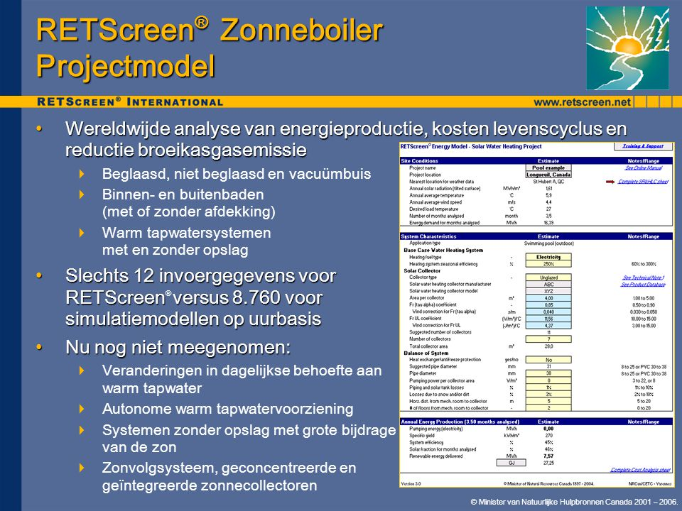RETScreen® Zonneboiler Projectmodel