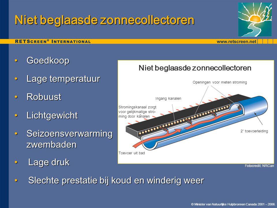 Niet beglaasde zonnecollectoren