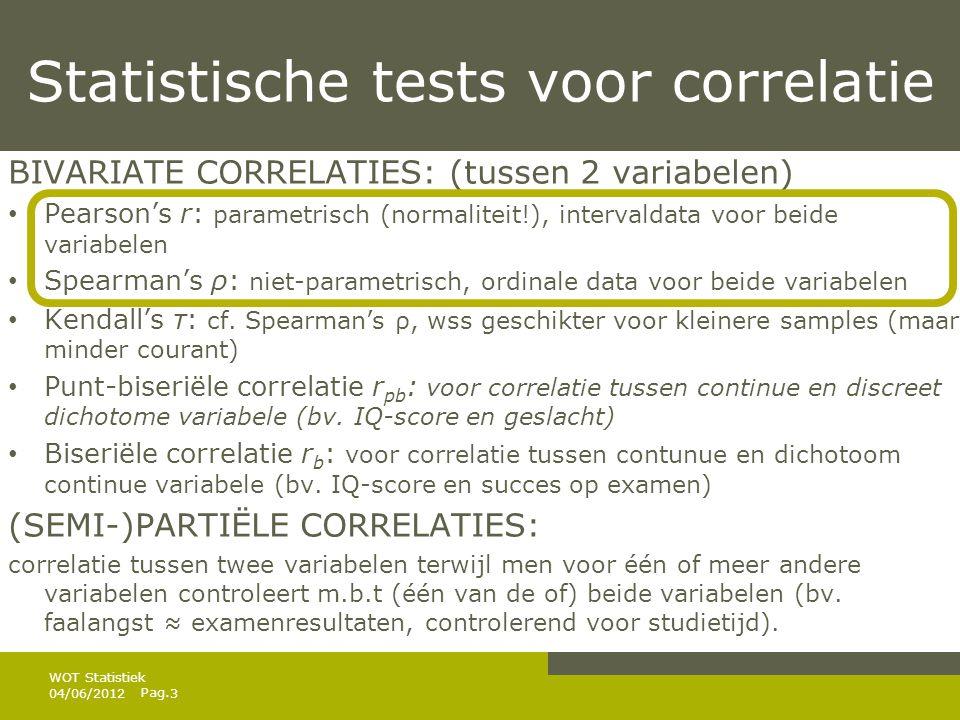 Statistische tests voor correlatie