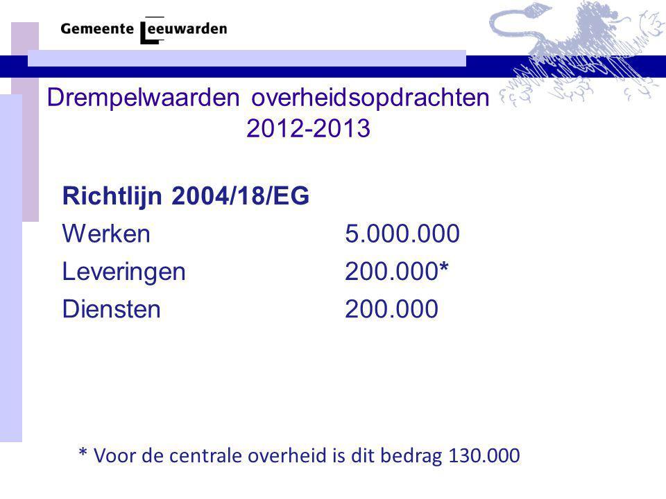 Drempelwaarden overheidsopdrachten 2012-2013
