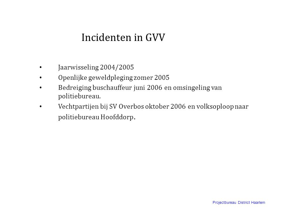 Incidenten in GVV Jaarwisseling 2004/2005