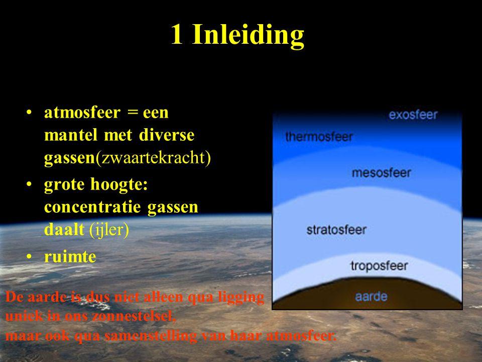 1 Inleiding atmosfeer = een mantel met diverse gassen(zwaartekracht)