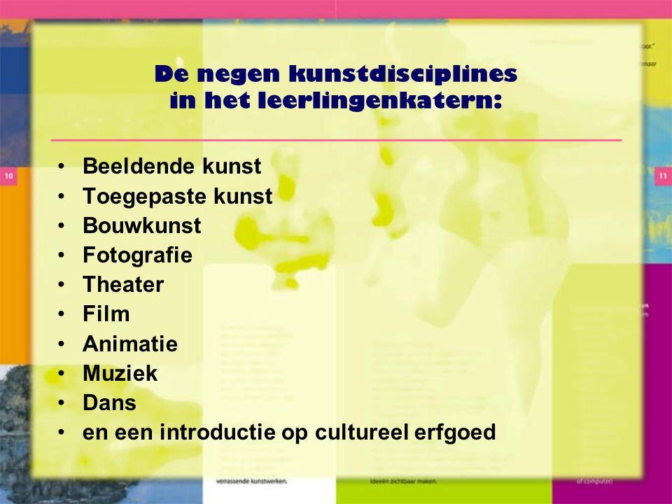 De negen kunstdisciplines in het leerlingenkatern:
