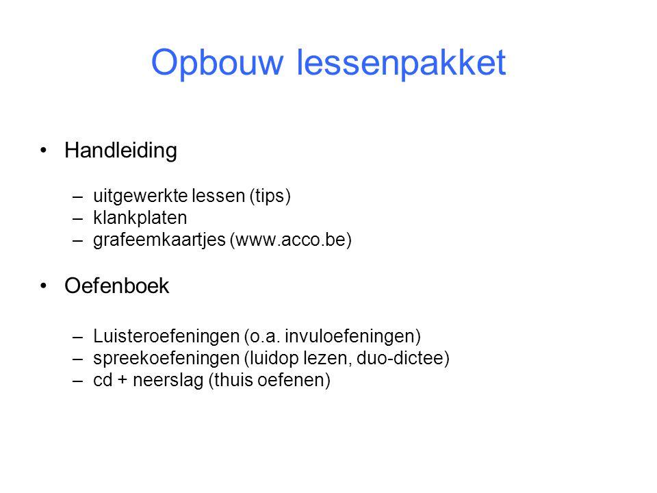 Opbouw lessenpakket Handleiding Oefenboek uitgewerkte lessen (tips)