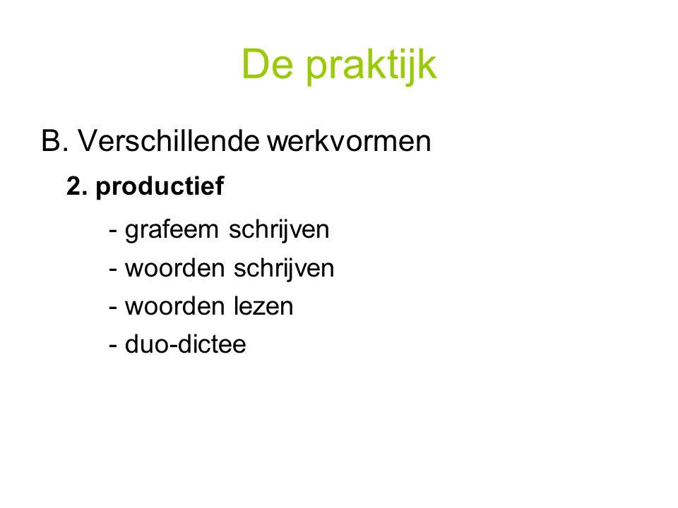 De praktijk B. Verschillende werkvormen 2. productief