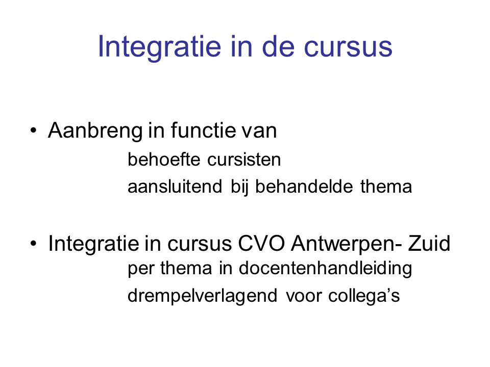 Integratie in de cursus