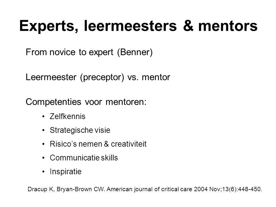 Experts, leermeesters & mentors