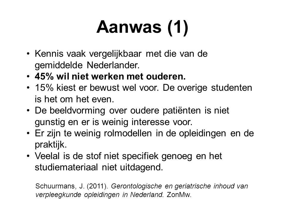 Aanwas (1) Kennis vaak vergelijkbaar met die van de gemiddelde Nederlander. 45% wil niet werken met ouderen.