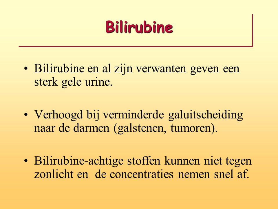 Bilirubine Bilirubine en al zijn verwanten geven een sterk gele urine.