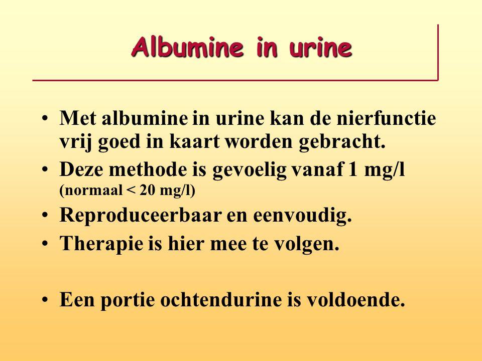 Albumine in urine Met albumine in urine kan de nierfunctie vrij goed in kaart worden gebracht.