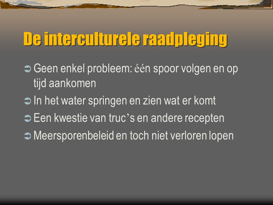 De interculturele raadpleging