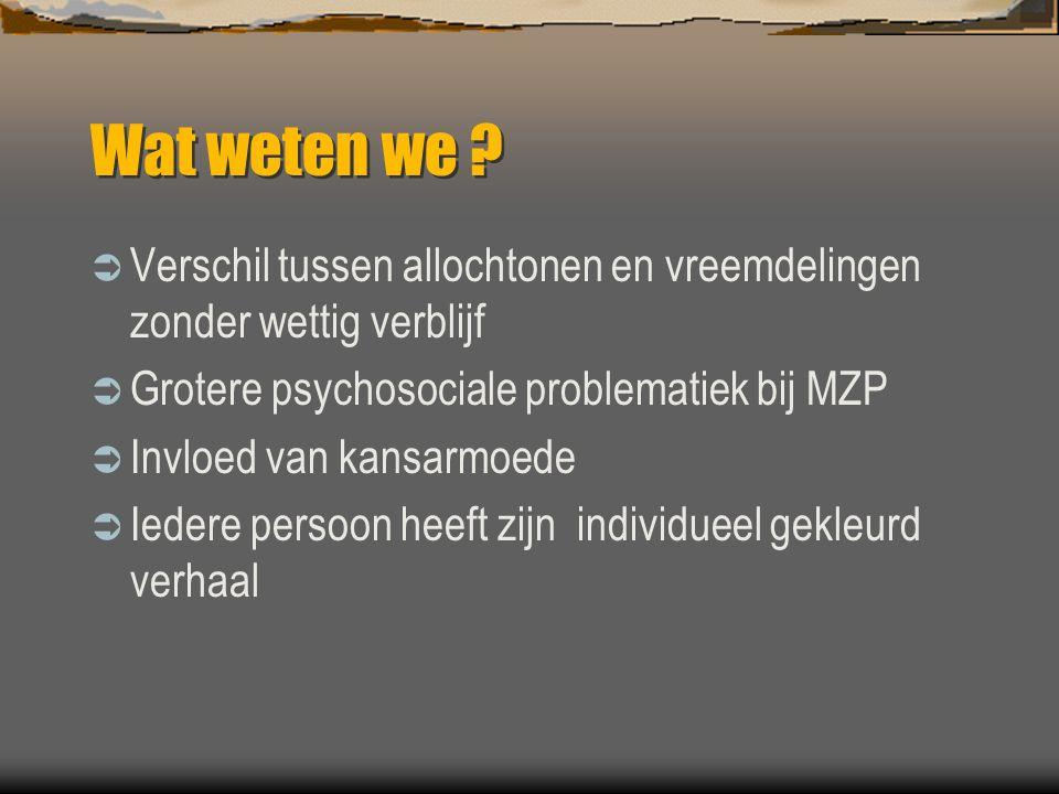 Wat weten we Verschil tussen allochtonen en vreemdelingen zonder wettig verblijf. Grotere psychosociale problematiek bij MZP.